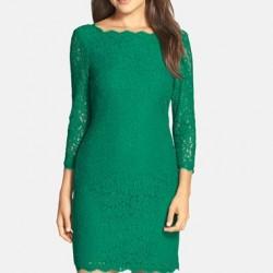 En Güzel Yeşil Renkli Dantel Elbise Modelleri