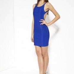 Sırt Dekolteli Mini Saks Mavisi Elbise Kombinleri