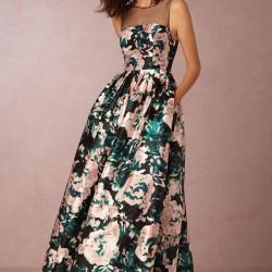 Yazlık Uzun Çiçek Desenli Elbise Modelleri 2016