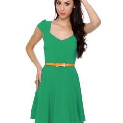 Yeni Sezon Kemer Detaylı Yeşil Elbise Modelleri