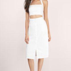 Önden Yırtmaçlı Çok Zarif Beyaz Etek Modelleri