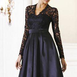 En Güzel Kolları Dantelli Siyah Elbise Modeli