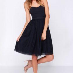 Siyah Renkli Çok Şık Tüllü Elbise Modeli