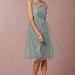 Yakası İşleme Detaylı Çok Kibar Tüllü Elbise Modeli