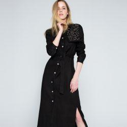 Siyah Renkli Oldukça Zarif Uzun Gömlek Elbise Modelleri
