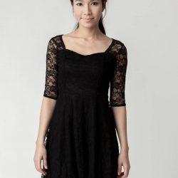 En Şık Siyah Dantelli Elbise Modeli