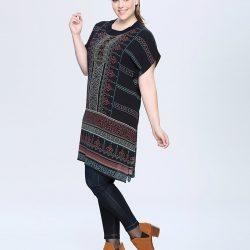 Etnik Desenli Çok Güzel Seçil Store Büyük Beden Tunik Modeli