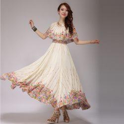 Çok Kibar Çiçek Desenli Uzun Elbise Modeli