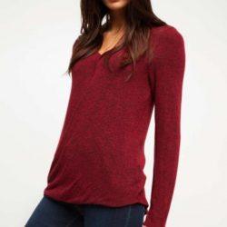 Bordo Renkli Çok Kibar Defacto Bluz Modeli