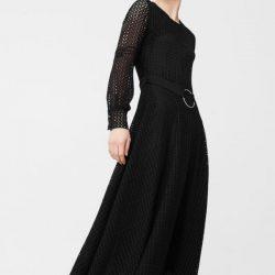 Yeni Sezon Güpürlü ve Kemer Detaylı siyah Renkli Mango Elbise Modelleri