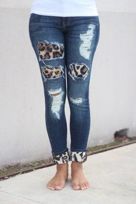 Leopar Yamalı Kot Pantolon Modelleri 2019