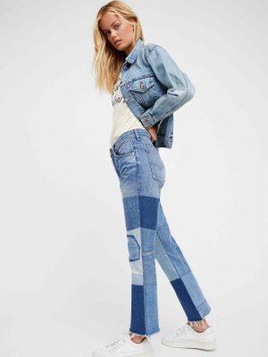Yamalı Kot Pantolon Kot Ceket Kombinleri 2019